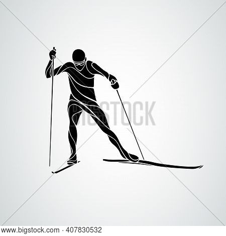 Silhouette Of Cross-country Skiing Isolated On White Background