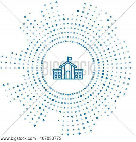Blue Line United States Capitol Congress Icon Isolated On White Background. Washington Dc, Usa. Abst