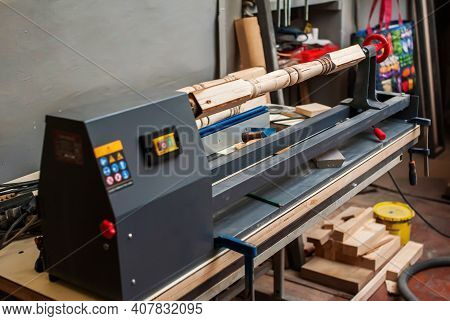 Electric Lathe For Wood. Making A Baluster. Close-up. Soft Focus