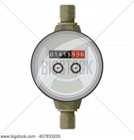 Meter Counter. Water Power Measurement. Water Meter To Record Consumption. Isolated Vector Cartoon I