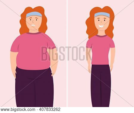 Fat And Slim Woman. Before And After Weight Loss Fat And Slim Woman Vector Illustration. Woman In Sp