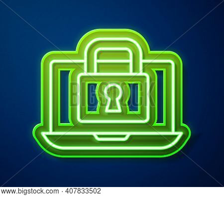 Glowing Neon Line Laptop And Lock Icon Isolated On Blue Background. Computer And Padlock. Security,