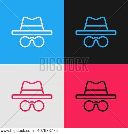 Pop Art Line Incognito Mode Icon Isolated On Color Background. Vector