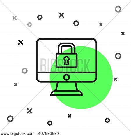 Black Line Lock On Computer Monitor Screen Icon Isolated On White Background. Security, Safety, Prot
