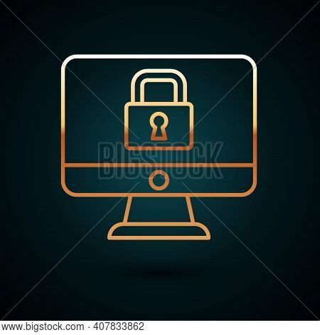 Gold Line Lock On Computer Monitor Screen Icon Isolated On Dark Blue Background. Security, Safety, P