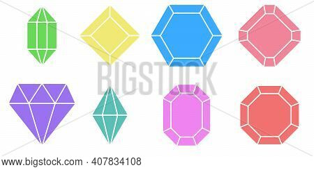 Set Shape Diamond, Vector Variety Of Gem Stones With Different Colors And Designs, Set Colorful Gem