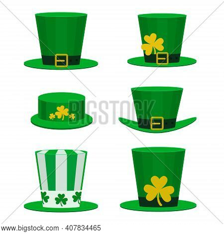 Vector Set Of Hats For St. Patrick's Day. A Collection Of Green Hats For The Holiday Can Be Used For