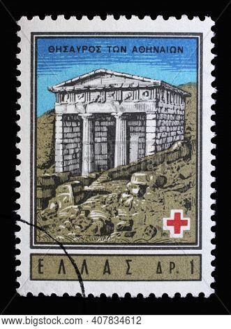 ZAGREB, CROATIA - JULY 03, 2014: Stamp printed by Greece shows Athenian Treasury, Delphi, International Red Cross series, circa 1963
