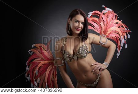 Beautiful Woman In A Carnival Costume With Rhinestones And Feathers. Attractive Female Cabaret Dance