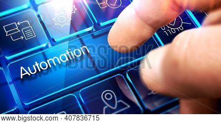 Automation Glass Key On Conceptual Keyboard.undefined3d Illustration.