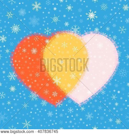 Vector Seamless Image Of Stylized Hearts And Snowflakes. Dedicated To Valentine's Day