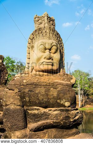 The Sculpture  Of The Demon At  The Entrance To Angkor  Thom  Castle Which  Is An Ancient  Khmer  Ar