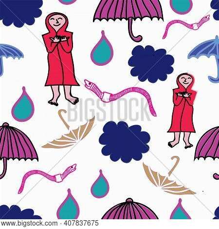 Vector Seamless Pattern, Open Umbrellas, Pink Earthwurms, Blue Clouds And Thankfull Person In Red Co