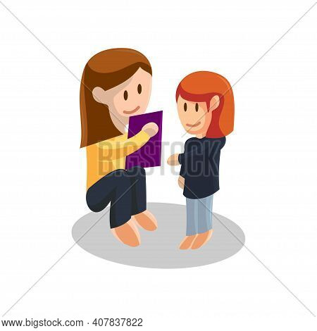 Young Mother Reading Book And Daughter Listening . Happy Mothers Day Concept With Mom And Daughter .
