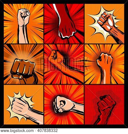 Collection Of Hand Fists. Raised Arm Fists With Comic Background. Hands Up Vector Icon Flat Symbol.