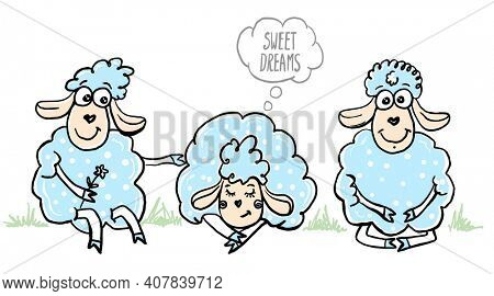 Sleeping and sitting sheeps, sheep with flower, cartoon graphic illustration. Sweet dreams.  Raster version.