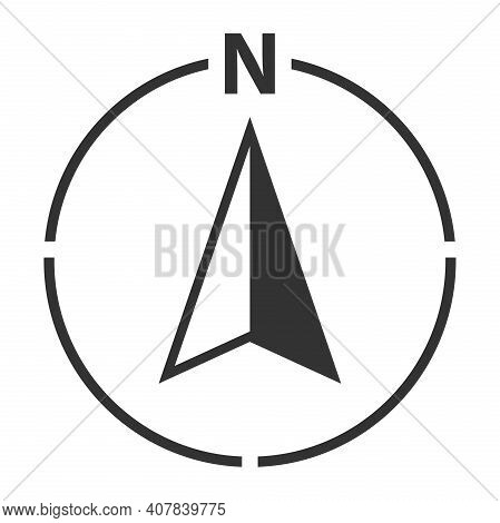 North Arrow In Circle Map Orientation Symbol With Letter N Vector Illustration