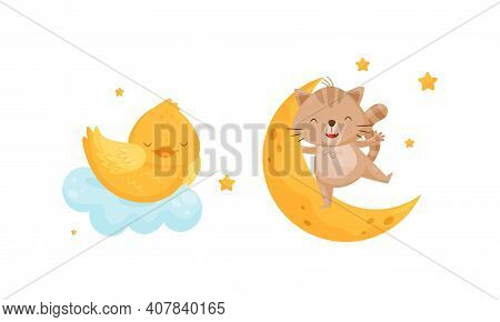 Yellow Chick Sleeping On Soft Cloud And Cat Swinging On Crescent Moon Vector Set