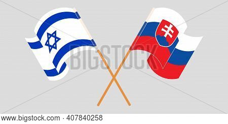 Crossed And Waving Flags Of Slovakia And Israel. Vector Illustration