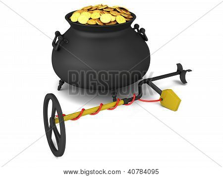 Metal Detector And Pot Of Gold On A White Background.