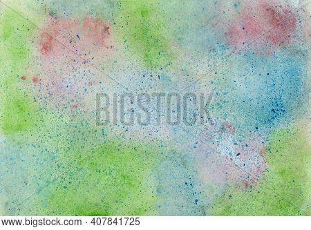 Watercolor Painting With Color Blots In Blue, Red And Green And And Paint Splashes In Dark Blue