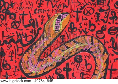 Painting Of A Snake On A Red Background With Hieroglyphs. A Beautiful And Dangerous Poisonous Snake