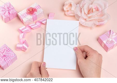 Blank Card Mockup In Female Hand With Design Elements For Wedding Invitation, Thank You Card, Greeti