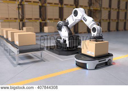 The Robot Arm Picks Up The Box To Autonomous Robot Transportation In Warehouses, Warehouse Automatio