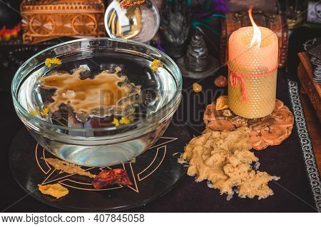 Wax Casting, Wicca Or Pagan Magic, Witch Ritual, Mystical Background, Love Magic, Concept Of Esoteri