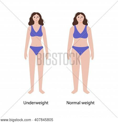 Woman Silhouettes With Anorexia And Slim Fit. Female Persons With Normal Weight And Underweight. Bmi