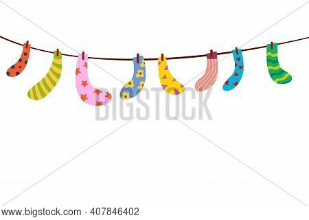 Baby Socks On A Rope. Set Of Children's Socks Are Dried On A Rope. Bright Vector Socks Hanging On A