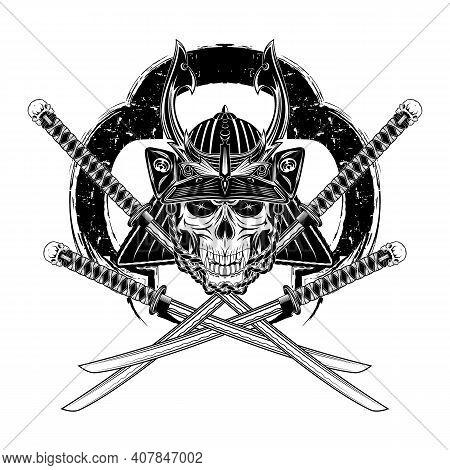 Vector Drawing Of A Helmet, Mask And Sword Ronin. Skull Of The Fantasy Samurai. Dead Head. Japanese