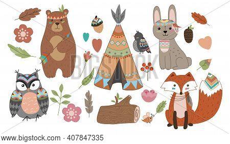 Funny Breeding Animals. Forest Animal Cub, Cute Wild Fox, Bear And Cute Hare, Funny Owl.