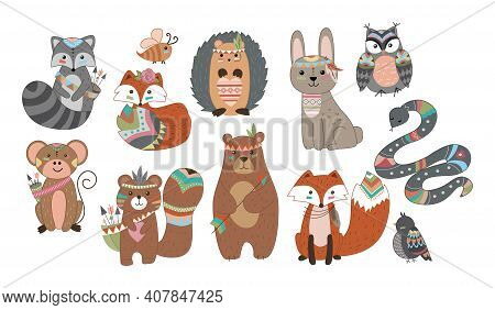 Funny Breeding Animals. Forest Animal Cub, Cute Wild Fox, Bear And Cute Bunny, Funny Owl. Hedgehog W