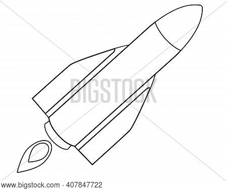 Rocket Taking Off - Vector Linear Illustration With Spaceship For Logo Or Coloring. Outline. Rocket