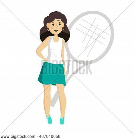 Pretty Young Tennis Player Stands With Her Hips Propped Up. Female Character Sportswoman, On The Bac