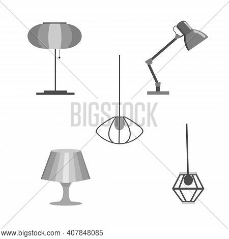 Set Of Isolated Lighting Fixtures - Floor Lamp, Table Lamp, Lampshade, Night Light. Monochrome Vecto