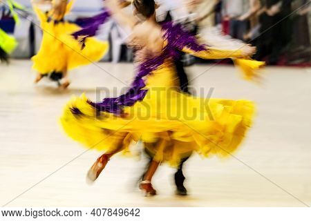 Ballroom Dancing Couple Dancers On Blurry Motion Competition