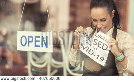 Happy Restaurant Owner Tears Apart A Sign About Closure Due To Covid-19 As Services Reopen After The