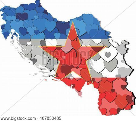 Yugoslavia Map Made Of Hearts Background - Illustration,  Abstract Yugoslavia Map