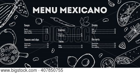 Menu Mexicano Design Template. List Of Dishes And Outline Illustrations. Hand Drawn Vector Sketch Gr