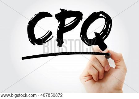 Cpq - Configure Price Quote Acronym With Marker, Business Concept Background