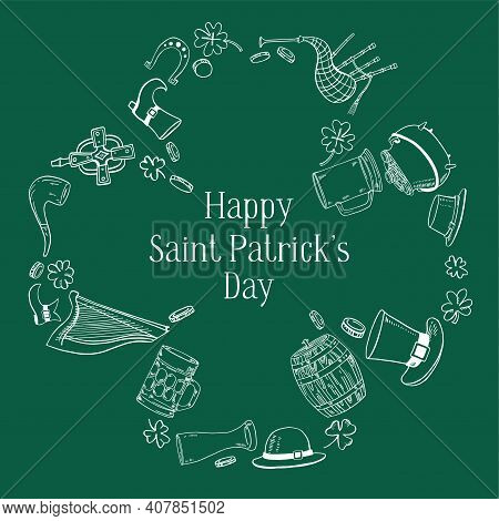 Saint Patrick's Day Frame Template In The Shape Of Shamrock. Traditional Objects - Hat, Harp, Beer,