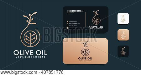 Luxury Olive Oil Logo Design With Business Card Template. Logo Can Be Used For Icon, Brand, Identity
