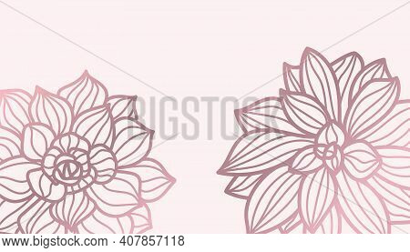 Background From Lotus Flower. Hand-drawn. Pink Background, Lotus. Vector Illustration On White Backg