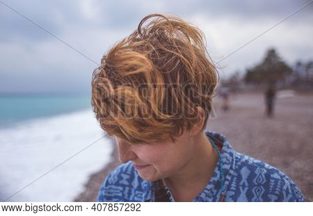 Portrait Of A Red-haired Girl With Freckles, A Woman With Short Hair, Wind In Her Hair, A Walk Along