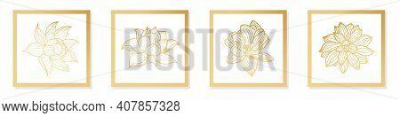 Lotus Line Art Hand Draw Golden Lotus Flower. Cover, Banner, Wall Art, Gold Geometric Pattern Design