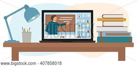Distance Education. Teacher Near Chalkboard Teaching Online Video Lesson. Online Lesson Concept. Hom