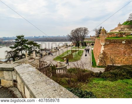 Belgrade, Serbia - March 06, 2013: Kalemegdan Fortress And Park. Ancient Fortress In The Old City Ce