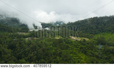 Geotermal Power Plant On Mount Apo. Steam And Pipework At The Geothermal Power Station. Mindanao, Ph